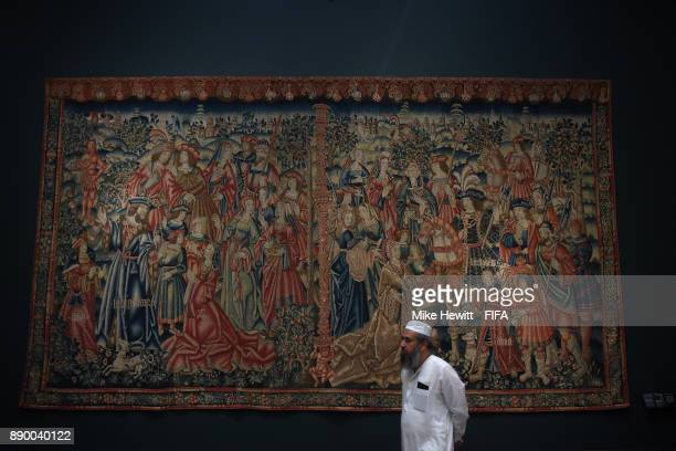 Tapestry of Daniel and Nebuchadnezzar on display at the Louvre Abu Dhabi on December 10 2017 in Abu Dhabi United Arab Emirates