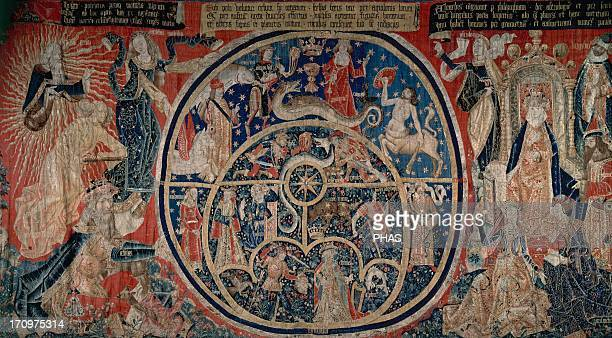 Tapestry of the Astrolabes 15th century Flemish tapestry depicting on the left God the Creator In the center the Vault of Heaven like an astrolabe...