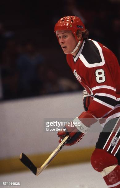 Tapio Levo in action during a circa 1982 NHL Hockey game at the Brendan Byrne Arena in East Rutherford, New Jersey. Levo played for the Devils from...