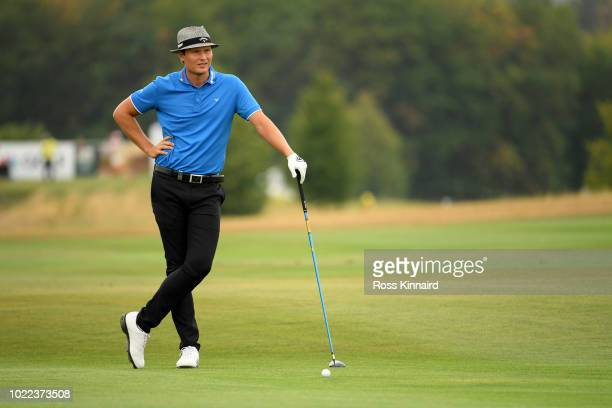 Tapio Pulkkanen of Finland looks on on 8th fairway during Day Two of DD REAL Czech Masters at Albatross Golf Resort on August 24 2018 in Prague Czech...