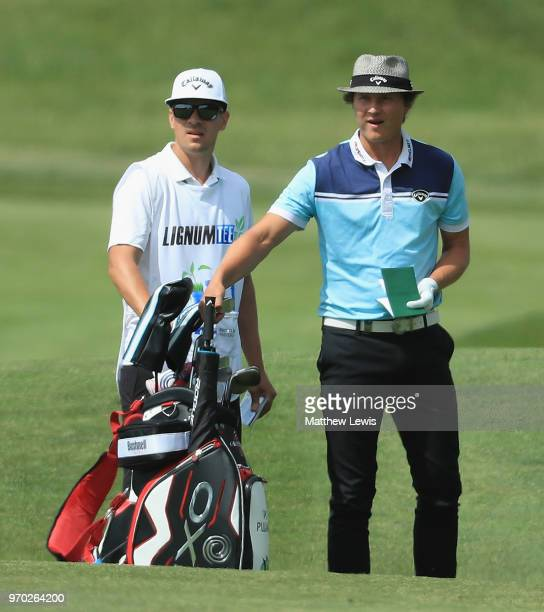 Tapio Pulkkanen of Finland looks on with his caddie during Day Three of The 2018 Shot Clock Masters at Diamond Country Club on June 9 2018 in...