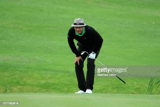 Tapio Pulkkanen of Finland looks prepares to play a putt on the 12th hole during Day One of Nordea Masters at Hills Golf Sports Club on August 16...