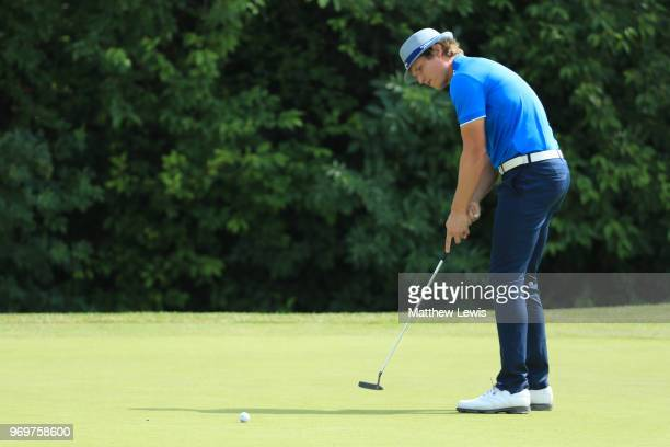 Tapio Pulkkanen of Finland makes a putt on 15th green during day two of The 2018 Shot Clock Masters at Diamond Country Club on June 8 2018 in...
