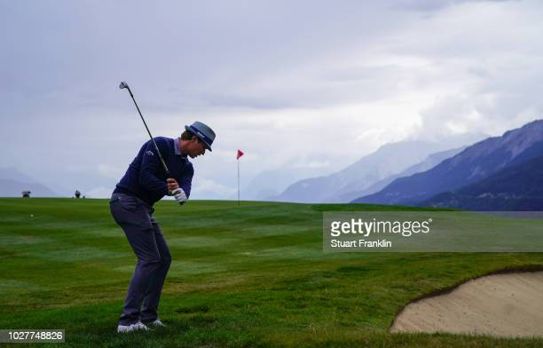 Tapio Pulkkanen of Finland plays a shot on the seventh holeTapio Pulkkanen during the first round of the Omega European Masters at CranssurSierre...