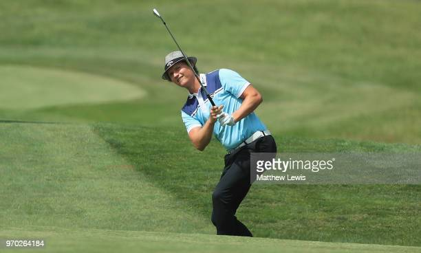 Tapio Pulkkanen of Finland plays his second shot from the 1st fairway during Day Three of The 2018 Shot Clock Masters at Diamond Country Club on June...