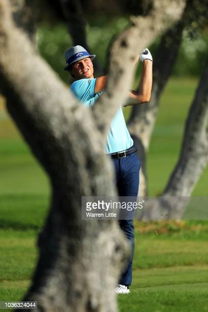 Tapio Pulkkanen of Finland plays his second shot on 9th hole during Day One of the Portugal Masters at Dom Pedro Victoria Golf Course on September 20...