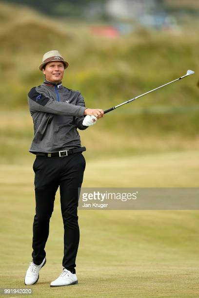 Tapio Pulkkanen of Finland plays his second shot on the 10th hole during day one of the Dubai Duty Free Irish Open at Ballyliffin Golf Club on July 5...