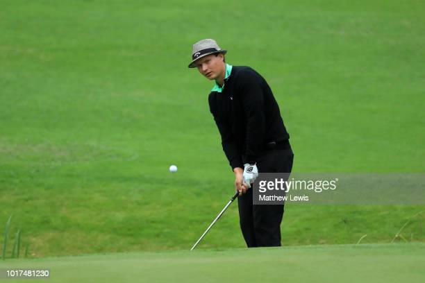 Tapio Pulkkanen of Finland plays his second shot on the 12th green during Day One of Nordea Masters at Hills Golf Sports Club on August 16 2018 in...