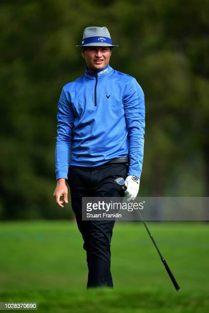 Tapio Pulkkanen of Finland plays his second shot on the 12th hole during day two of the Omega European Masters at CranssurSierre Golf Club on...