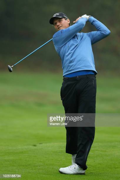 Tapio Pulkkanen of Finland plays his second shot on the 14th hole during day one of the Made in Denmark played at the Silkeborg Ry Golf Club on...