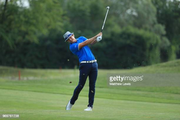 Tapio Pulkkanen of Finland plays his second shot on the 16th fairway during day two of The 2018 Shot Clock Masters at Diamond Country Club on June 8...