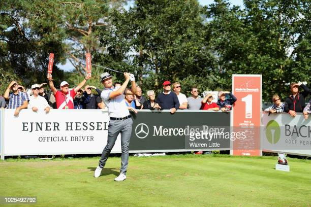 Tapio Pulkkanen of Finland plays his shot of the 1st hole during day two of the Made in Denmark played at the Silkeborg Ry Golf Club on August 31...