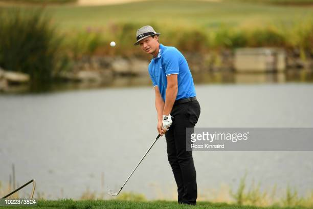 Tapio Pulkkanen of Finland plays his third shot on the 9th hole during Day Two of DD REAL Czech Masters at Albatross Golf Resort on August 24 2018 in...