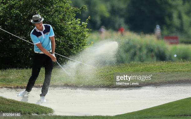 Tapio Pulkkanen of Finland plays out of a bunker on the 1st hole during Day Three of The 2018 Shot Clock Masters at Diamond Country Club on June 9...