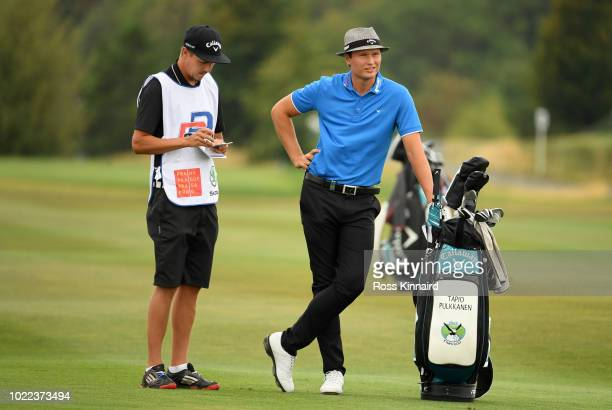 Tapio Pulkkanen of Finland prepares to play a shot on 8th fairway during Day Two of DD REAL Czech Masters at Albatross Golf Resort on August 24 2018...