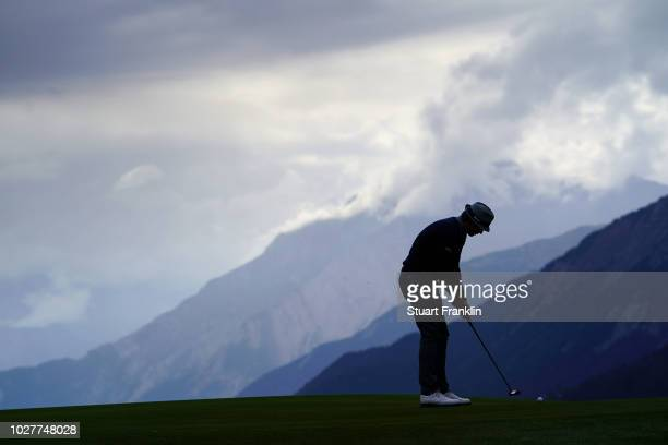 Tapio Pulkkanen of Finland putts on the seventh holeTapio Pulkkanen during the first round of the Omega European Masters at CranssurSierre Golf Club...