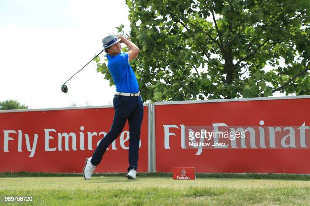 Tapio Pulkkanen of Finland tees off on the 16th hole during day two of The 2018 Shot Clock Masters at Diamond Country Club on June 8 2018 in...
