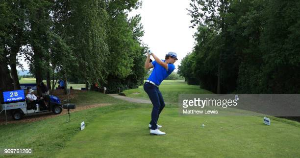 Tapio Pulkkanen of Finland tees off on the 17th hole during day two of The 2018 Shot Clock Masters at Diamond Country Club on June 8 2018 in...