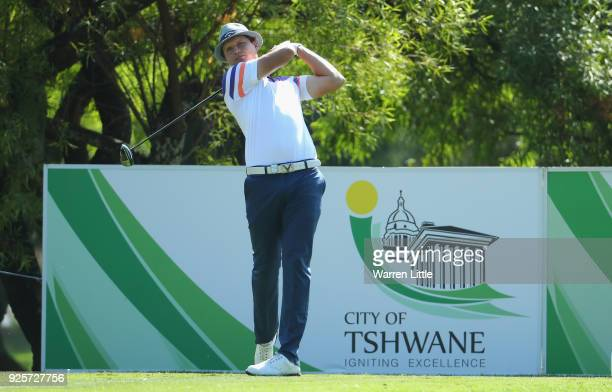 Tapio Pulkkanen of Finland tees off on the 18th hole during the first round of the Tshwane Open at Pretoria Country Club on March 1 2018 in Pretoria...