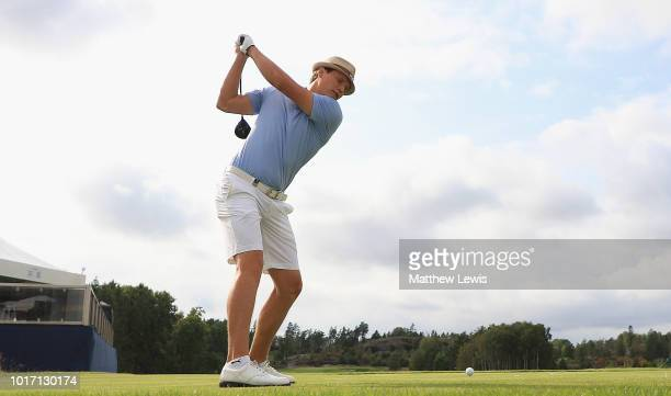 Tapio Pulkkanen of Finland tees off on the 1st hole during a practice round ahead of the Nordea Masters at Hills Golf Club on August 15 2018 in...