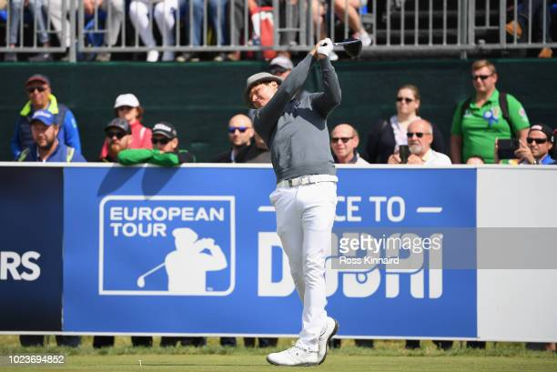 Tapio Pulkkanen of Finland tees off on the 1st hole during day four and final round of the the DD REAL Czech Masters at Albatross Golf Resort on...