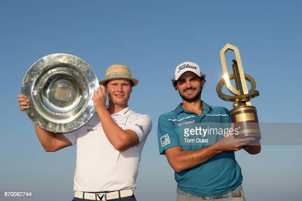 Tapio Pulkkanen of Finland winner of the Road to Oman Rankings Trophy and Clement Sordet of France winner of the Grand Final Trophy pose for...