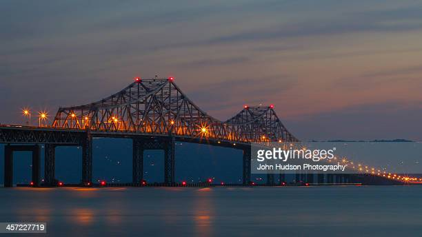 tappan zee bridge at dusk - westchester county stock photos and pictures