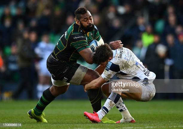 Taqele Naiyaravoro of Northampton Saints is tackled by Piers O'Conor of Bristol Bears during the Gallagher Premiership Rugby match between...