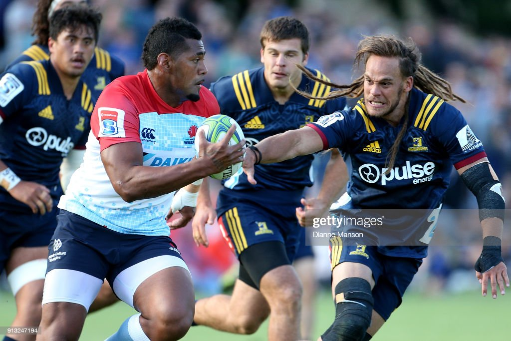 Taqele Naiyaravoro of the Waratahs makes a break during the Super Rugby pre-season match between the Highlanders and the Waratahs on February 2, 2018 in Queenstown, New Zealand.