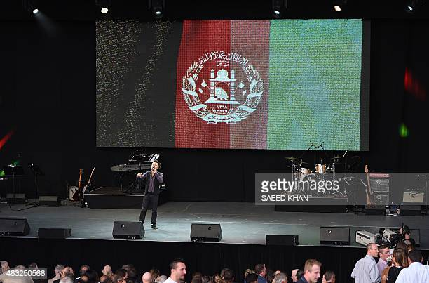 Taqi Khan performs for Afghanistan during the opening ceremony ahead of the ICC 2015 Cricket World Cup at the Myer Music Bowl in Melbourne on...