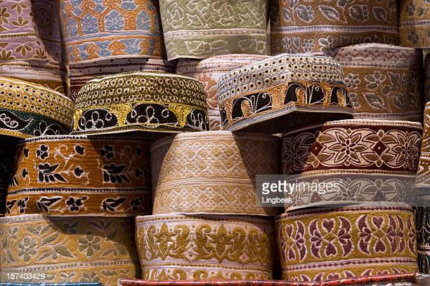 taqiyah or muslim cap - embroidery stock pictures, royalty-free photos & images