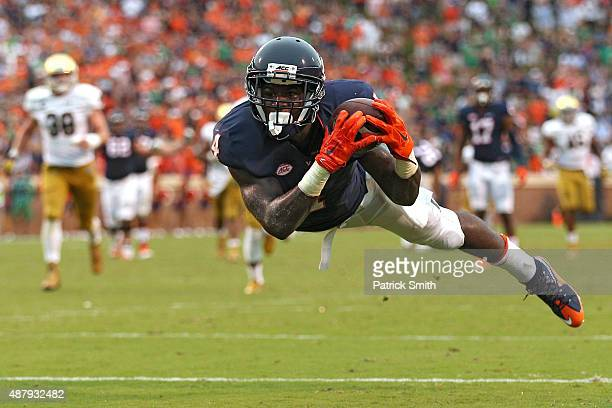Taquan Mizzell of the Virginia Cavaliers cannot make a catch for a touchdown against the Notre Dame Fighting Irish in the fourth quarter at Scott...