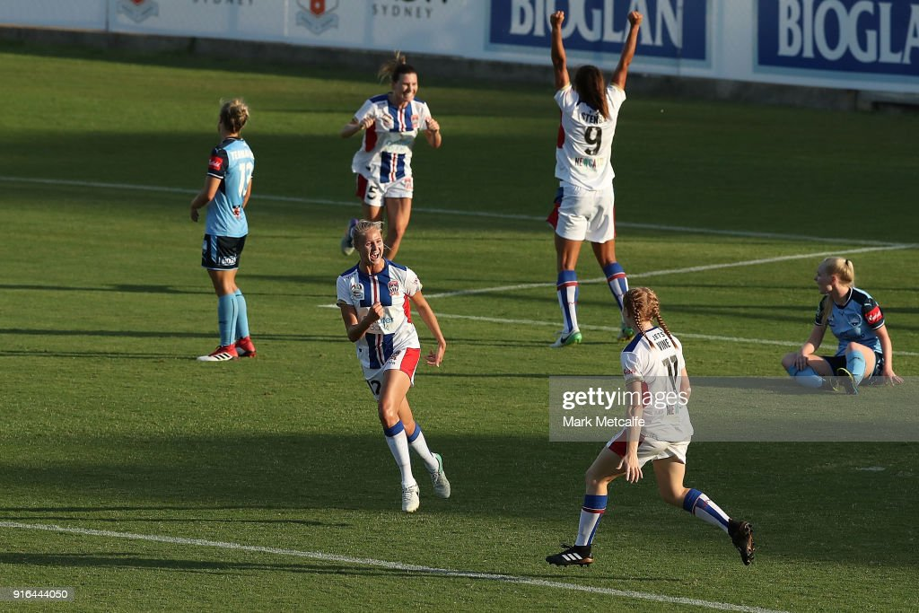 Tara Andrews of Newcastle Jets celebrates scoring a goal during the W-League semi final match between Sydney FC and the Newcastle Jets at Leichhardt Oval on February 10, 2018 in Sydney, Australia.