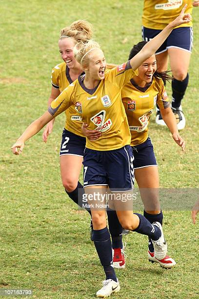 Tara Andrews of the Jets celebrates her first goal during the round four W-League match between Sydney FC and the Newcastle Jets at Campbelltown...