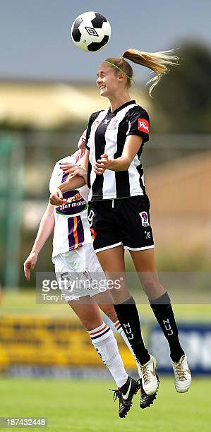 Tara Andrews of the Jets heads the ball away during the round one WLeague match between the Newcastle Jets and the Perth Glory at Wanderers Oval on...