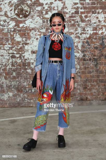 Tara Chandra wearing DIY denim top markets Windsor Smith shoes during MercedesBenz Fashion Week Resort 18 Collections at Carriageworks on May 16 2017...
