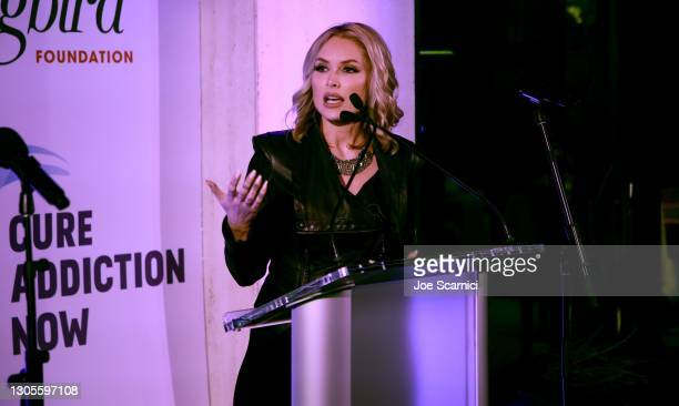 """Tara Conner speaks onstage during a private event with the cast of MTV's """"The Hills"""" hosted by Cure Addiction Now & The Red Songbird Foundation on..."""
