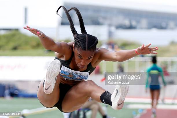 Tara Davis competes in the long jump on the second day of the 61st Mt SAC Relays at Murdock Stadium at El Camino College on April 20 2019 in Torrance...