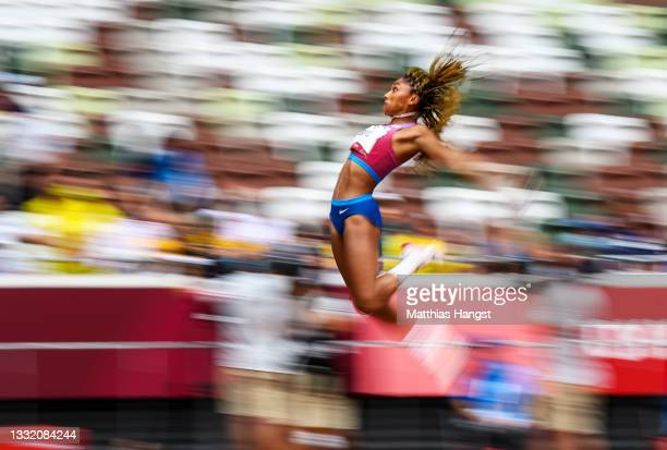 Tara Davis of Team United States competes in the Women's Long Jump Final on day eleven of the Tokyo 2020 Olympic Games at Olympic Stadium on August...