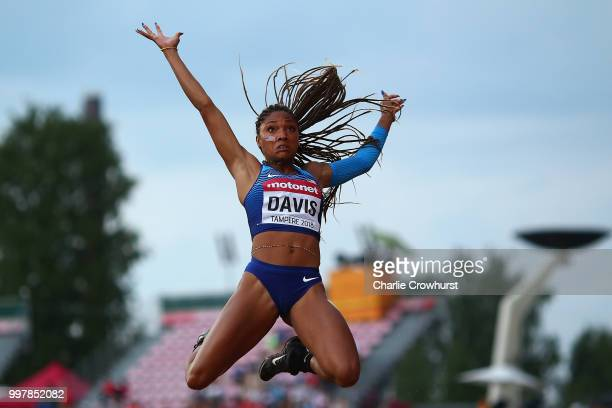 Tara Davis of The USA in action during the final of the women's long jump on day four of The IAAF World U20 Championships on July 13, 2018 in...