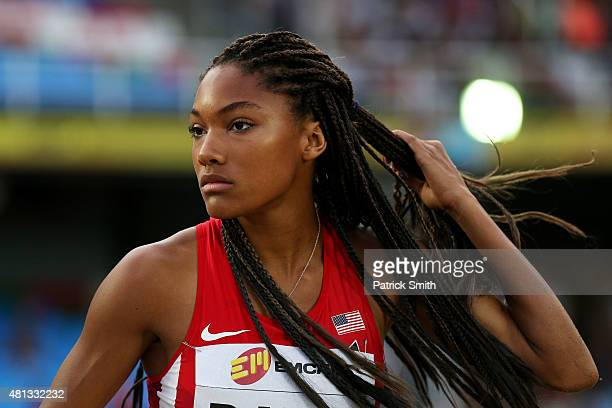 Tara Davis of the USA in action during the Girls Triple Jump Final on day four of the IAAF World Youth Championships Cali 2015 on July 18 2015 at the...
