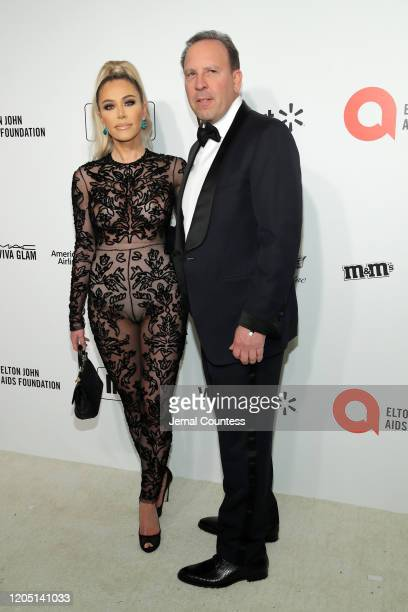 Tara Dollinger and David Dollinger attend the 28th Annual Elton John AIDS Foundation Academy Awards Viewing Party sponsored by IMDb Neuro Drinks and...
