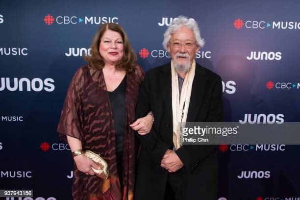 Tara Elisabeth Culls and Dr David Suzuki attend the red carpet arrivals at the 2018 Juno Awards at Rogers Arena on March 25 2018 in Vancouver Canada