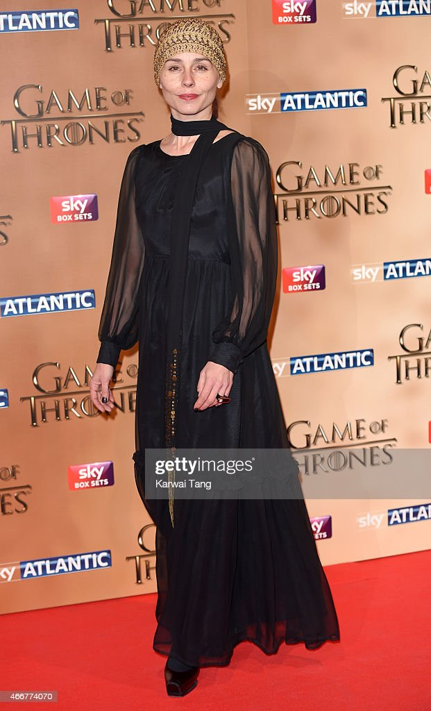 Tara Fitzgerald arrives for the world premiere of Game of Thrones Season 5 at Tower of London on March 18, 2015 in London, England.