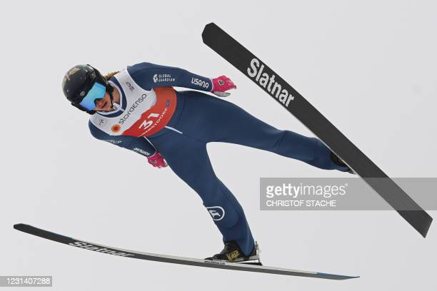 Tara Geraghty-Moats soars through the air during the trial round of the women's HS106 individual Gundersen Nordic Combined jumping event at the FIS...