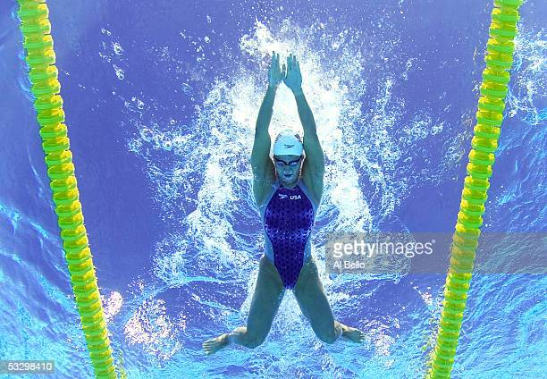 Tara Kirk of the United States swims in the 200 meter Breaststroke heats at the XI FINA World Championships at the Parc JeanDrapeau on July 25 2005...