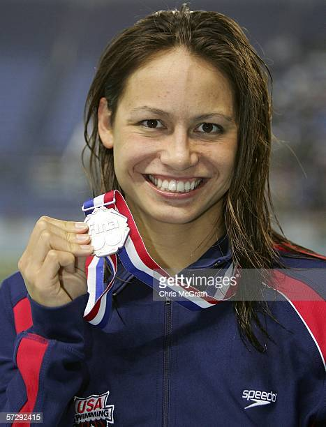 Tara Kirk of the USA poses with her medal after winning silver in the Women's 200m breastroke final during day five of the FINA World Swimming...