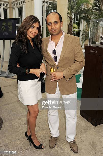Tara Lalvani and Tej Lalvani attend the launch of the Audemars Piguet Royal Oak Offshore 44mm at the Salon Prive in Syon Park on June 24 2011 in...