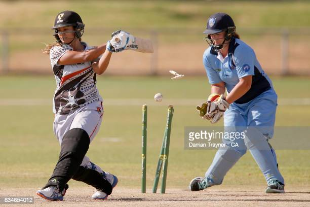 Tara Liddy of the Northern Territory is bowled during the National Indigenous Cricket Championships match between Northern Territory and New South...