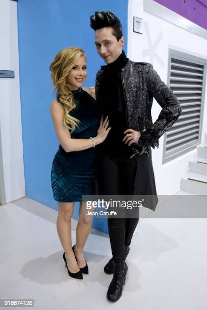 Tara Lipinski and Johnny Weir pose following the Figure Skating Men Short Program on day seven of the PyeongChang 2018 Winter Olympic Games at...